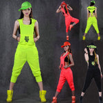 Hip Hop Dance Costume performance wear women romper European playsuit loose overallsliilgal-liilgal