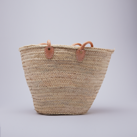 French Basket w Leather Handle | Natural