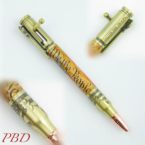 Patriotic SALUTE THE TROOPS 30 Caliber Bolt Action Pen - Ballpoint