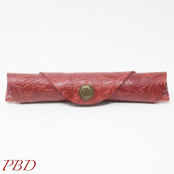 Snap Leather Roll-up Case - red carving - Case