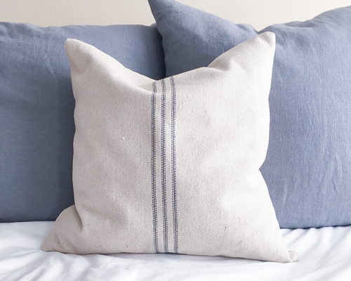 Blue Stripe Grain Sack Pillow Cover