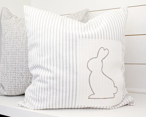 Bunny Patch Ticking Stripe Pillow Cover