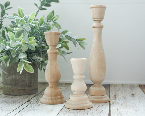 9-inch Unfinished Wood Candlesticks