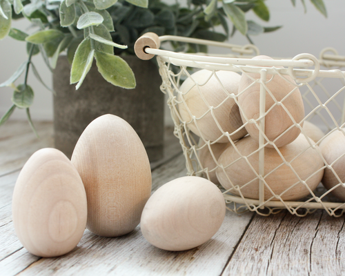 Large Unfinished Wood Eggs - 2 1/2-inch - set of 5