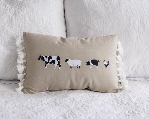 Farm Animal Tassel Pillow