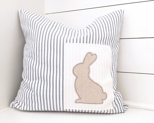 Bunny Patch Grain Sack and Ticking Stripe Pillow Cover