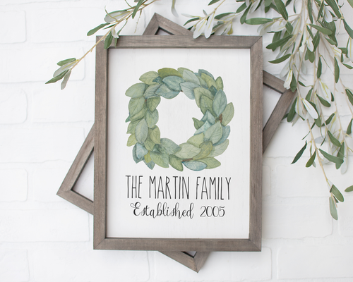 Custom Family Established Magnolia Wreath Print