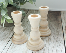 Load image into Gallery viewer, 4-inch Unfinished Wood Candlesticks