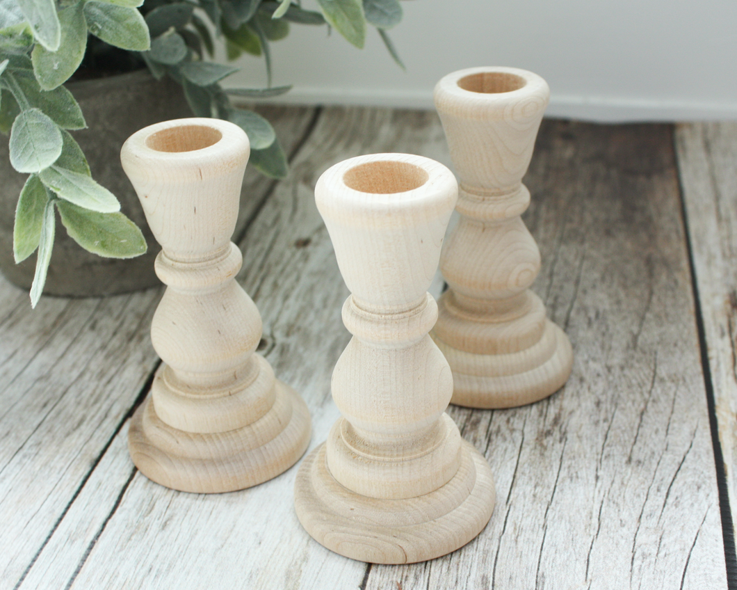 4-inch Unfinished Wood Candlesticks