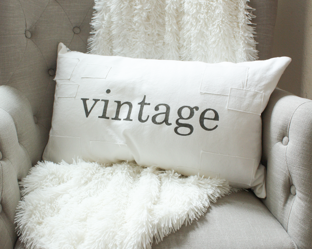 Vintage Farmhouse Patch Pillow Cover