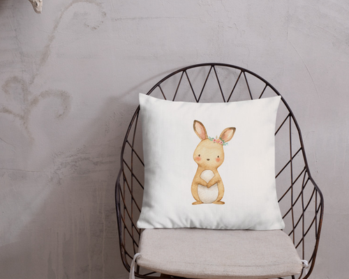Watercolor Bunny Pillow Cover