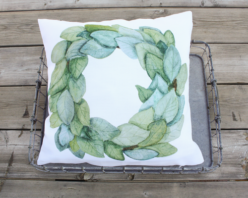 Magnolia Wreath Pillow Cover