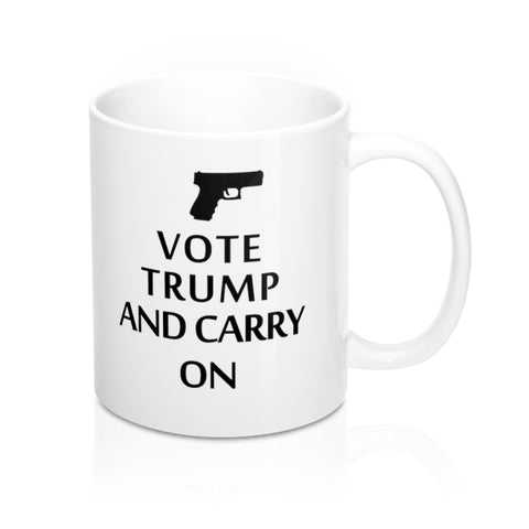 Vote Trump and Carry On Mug 11oz Donald trump 2020 presidential election - mugsouk
