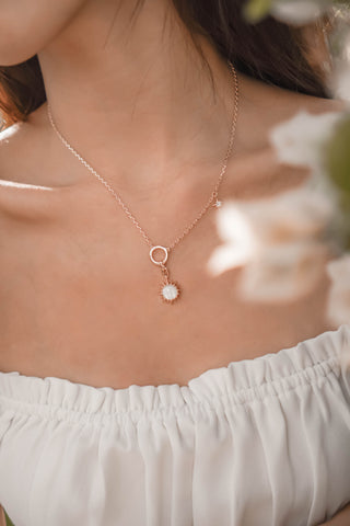 Leo Mother of Pearl Pendent by Love by the Moon Studio