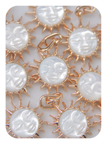 Leo Sun Pendant made of Mother of Pearl, Designed by Love by the Moon
