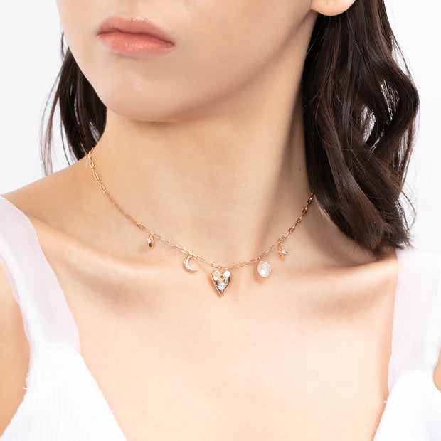 (Preorder)Heart Space Gold Choker (Moonstone)