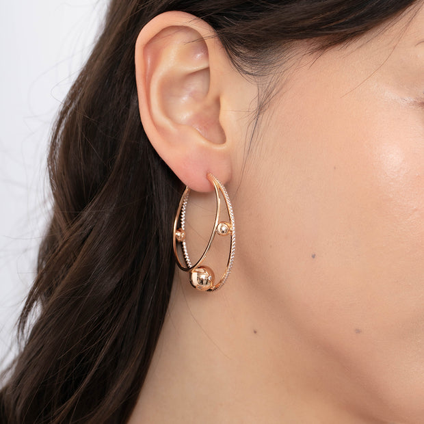 CZ Gold Hoop Earrings - Orbit