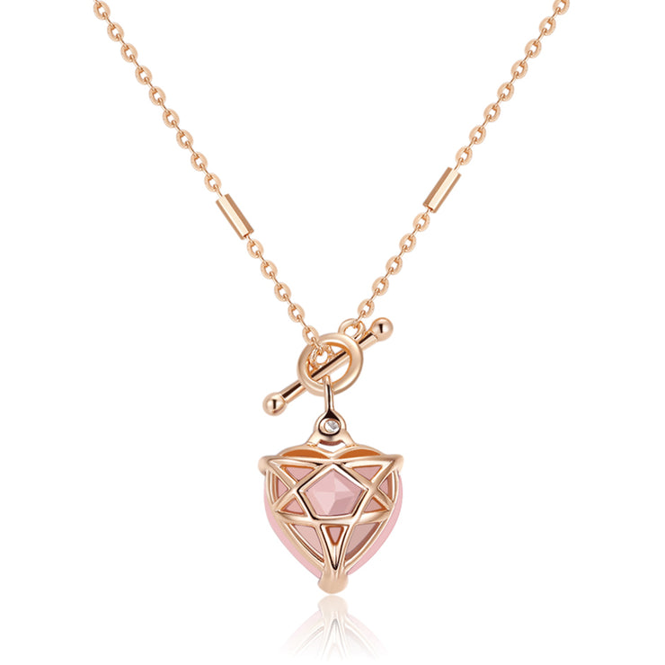 Rose Quartz Toggle Gold Necklace - Heart