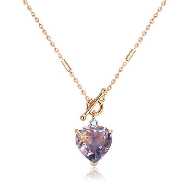 Amethyst Toggle Gold Necklace