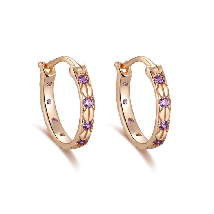 Purple CZ Gold Huggie Celestial Earrings