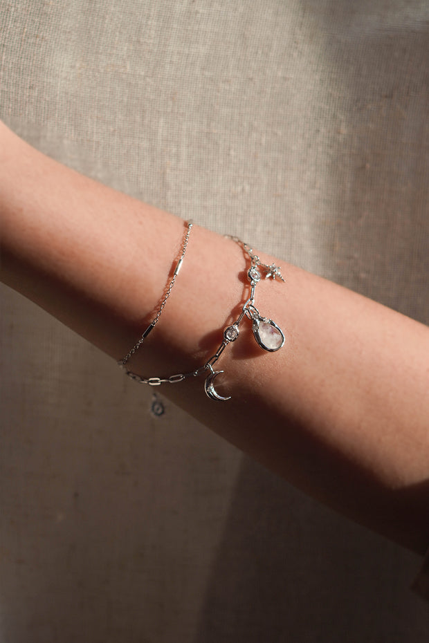 Moonstone Silver Layered Bracelet - New Moon wishes