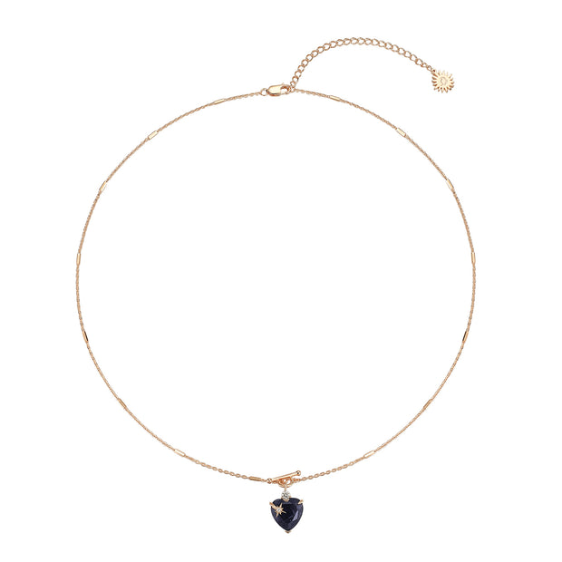 Iolite Toggle Gold Necklace - Heart