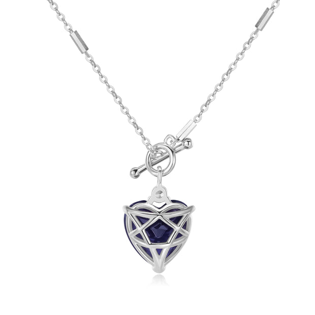 Iolite Toggle Silver Necklace - Heart