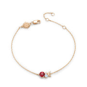 Opal, Red Topaz Gold Bracelet - Moon Planet