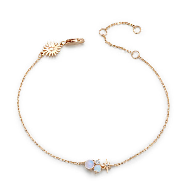 Moonstone, Opal Gold Bracelet - Star Planet