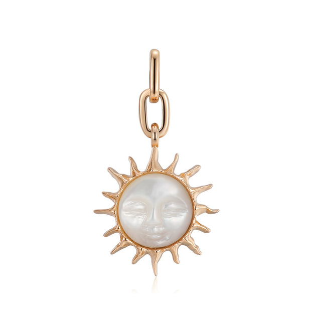 Mother of Pearl Gold Sun face Pendant - Leo