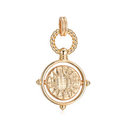 Pisces Zodiac Topaz Necklace with Gold Spinning Disc