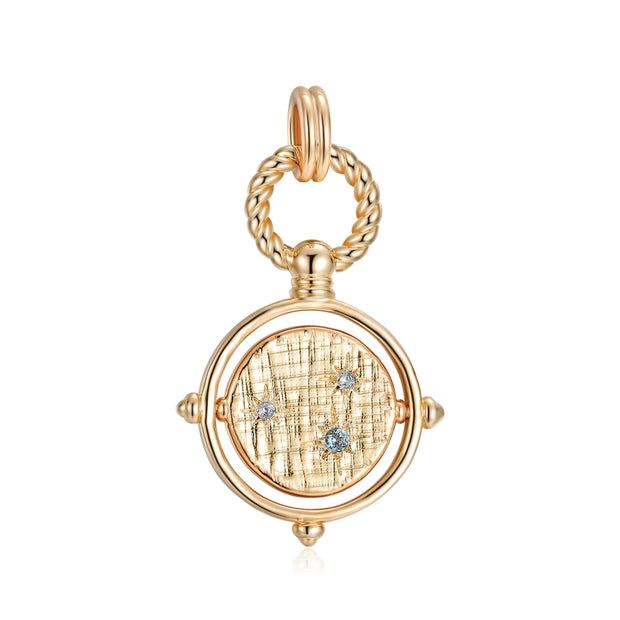 Pisces Topaz Pendant with Gold Spinning Disc