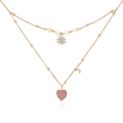 Pink Druzy Gold Layered Necklace - Love Note