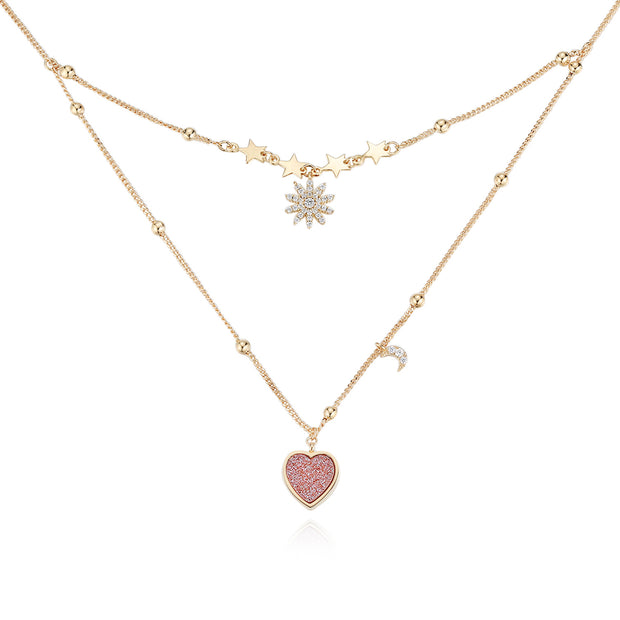 Love Note Gold Necklace (Pink Druzy)