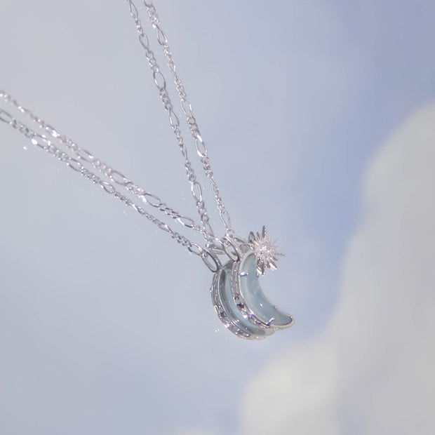 Wishing Moon Silver Necklace (Aquamarine)