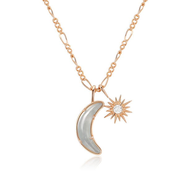 Wishing Moon Gold Necklace (Aquamarine)