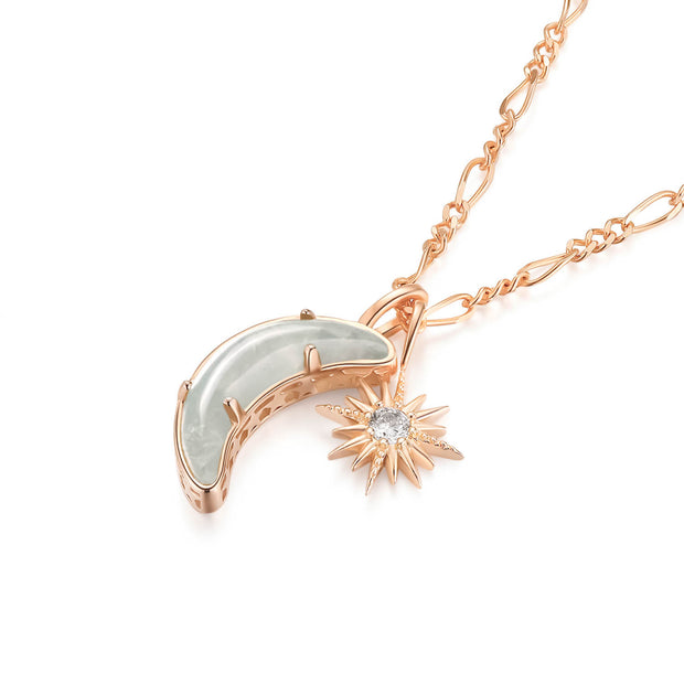 Aquamarine Gold Necklace - Wishing Moon
