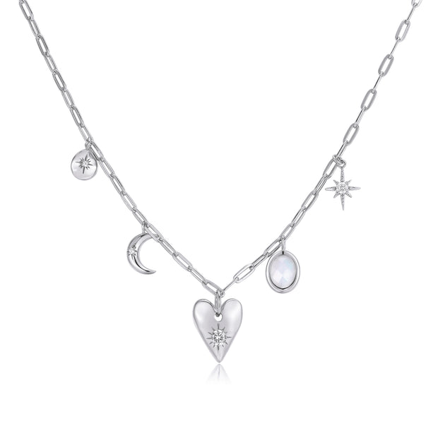 Moonstone Silver Choker - Heart Space