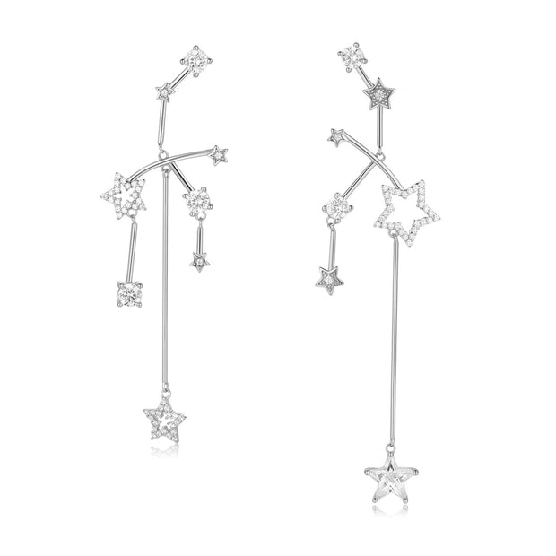 CZ Silver Asymmetrical Earrings - Imagine