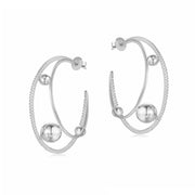 CZ  Silver Hoop Earrings - Orbit