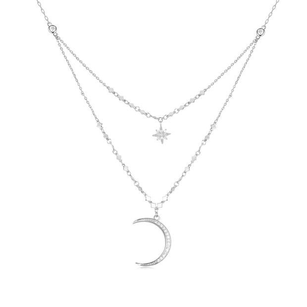 CZ Silver Layered Necklace - Selene