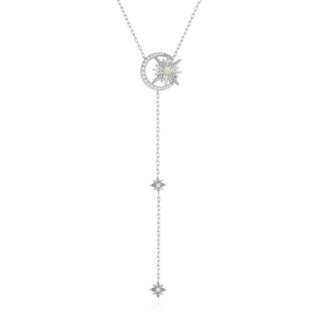 Opal Silver Lariat Necklace - Eclipse