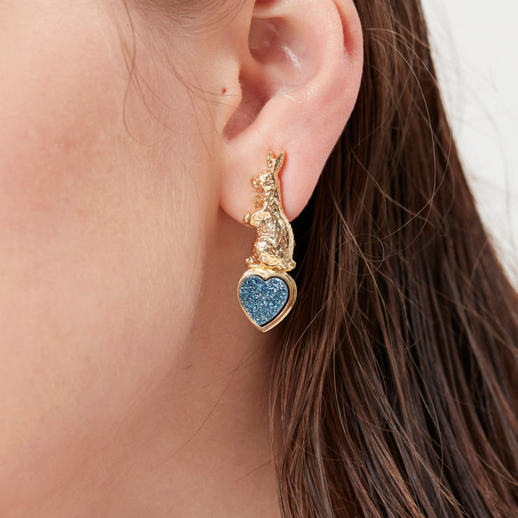 Blue Druzy Gold Clip On Earrings - Sweet Talk