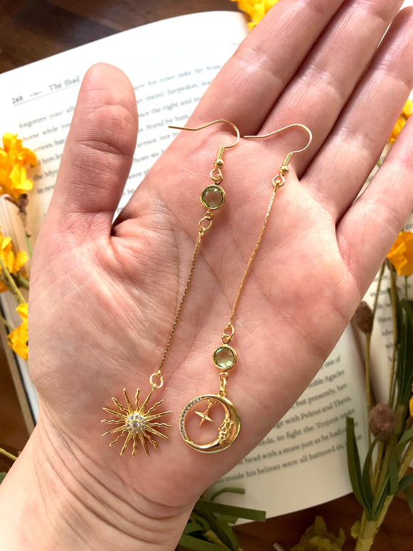 The Sun and Moon Earring - 12 Birthstone Options