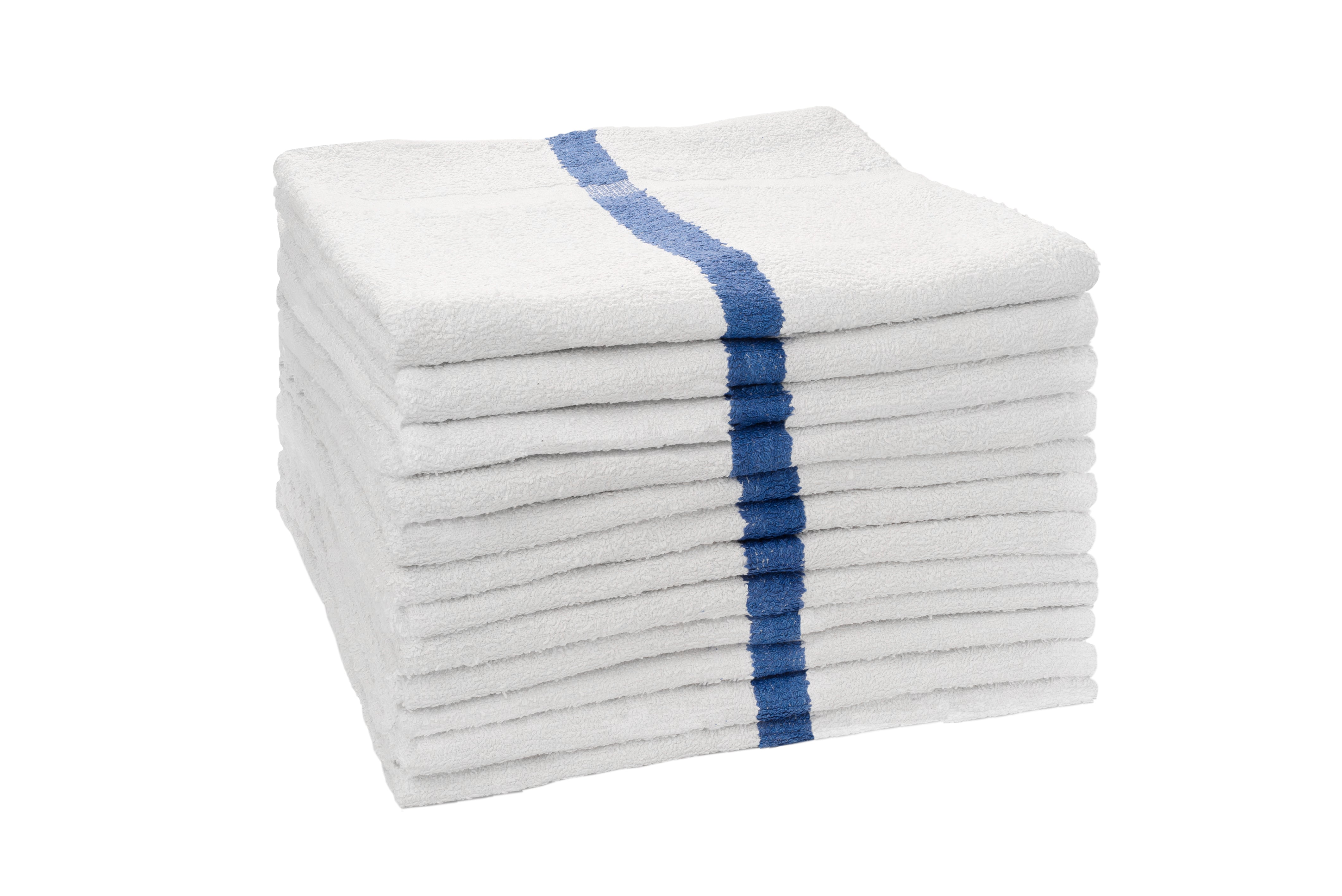 Partex Economy™ White Towels w/ Blue Stripe