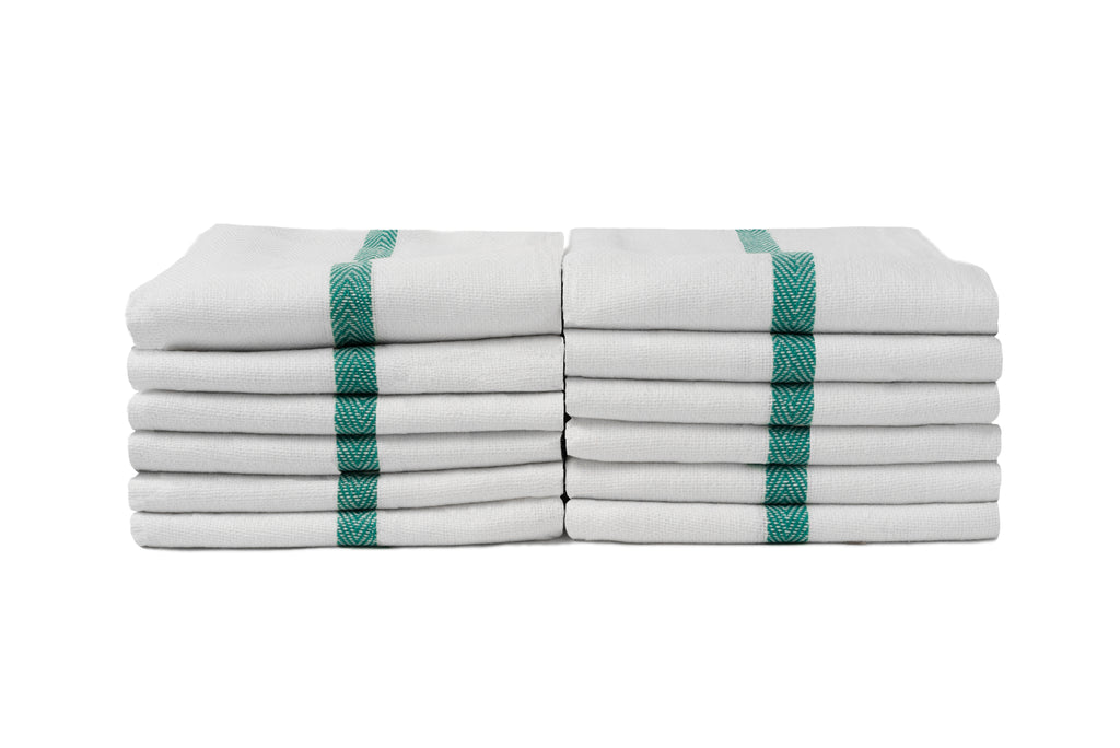 Partex Bleach Guard™ Herringbone White Towels w/ Green Stripe