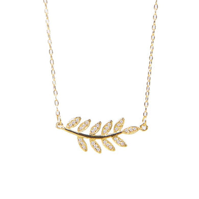 Olive Branch Necklace (White)