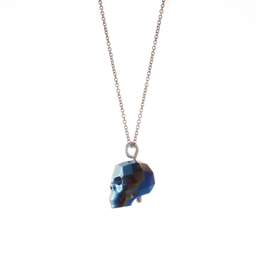Swarovski Skull Necklace (Blue)