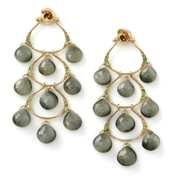 18k Yellow Gold Tzavorite Chandelier Earrings