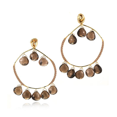 18k Yellow Gold Smoky Quartz Chandelier Earrings with Diamonds